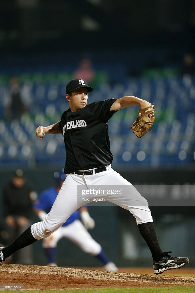 James Wilson #44 of Team New Zealand pitches during Game 5 of the 2013 World Baseball Classic Qualifier against Team Philippines at Xinzhuang Stadium in New Taipei City, Taiwan on Saturday, November 17, 2012.