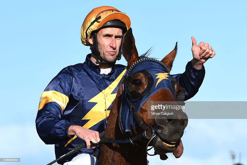 James Winks riding Yesterdays Song after winning Race 8, the Wangoom Handicap during Brierly Day at Warrnambool Race Club on May 4, 2016 in Warrnambool, Australia.