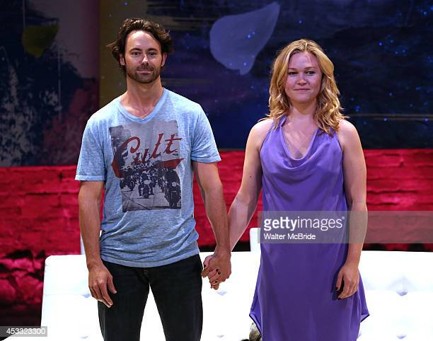 James Wirt and Julia Stiles during the opening night curtain call for 'Phoenix' at the Cherry Lane Theatre on August 7 2014 in New York City