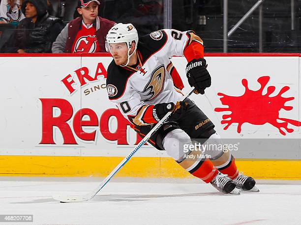 James Wisniewski of the Anaheim Ducks plays the against the New Jersey Devils during the game at the Prudential Center on March 29 2015 in Newark New...