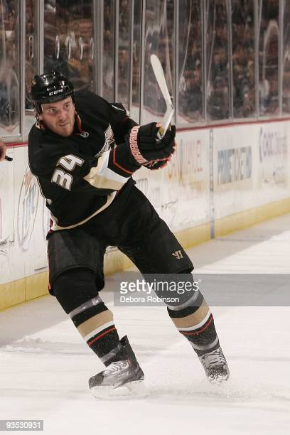 James Wisniewski of the Anaheim Ducks shoots the puck during the game against the Phoenix Coyotes on November 29 2009 at Honda Center in Anaheim...