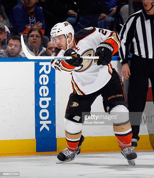 James Wisniewski of the Anaheim Ducks skates against the New York Islanders at the Nassau Veterans Memorial Coliseum on March 28 2015 in Uniondale...