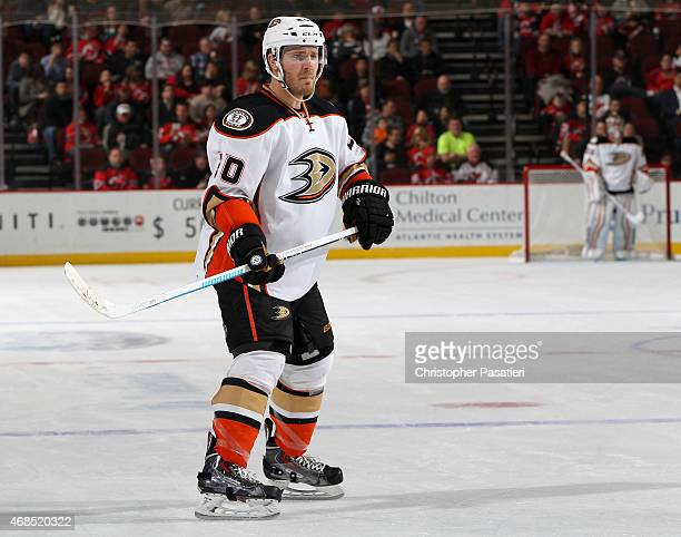 James Wisniewski of the Anaheim Ducks skates during the first period against the New Jersey Devils at the Prudential Center on March 29 2015 in...