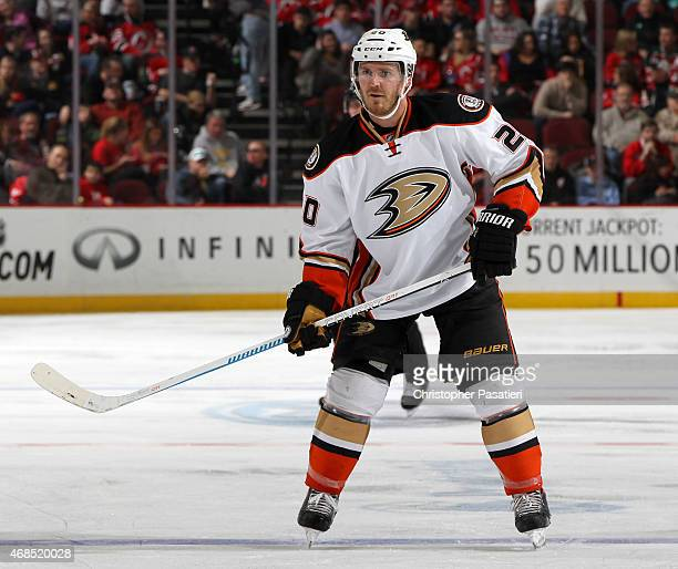 James Wisniewski of the Anaheim Ducks skates during the third period against the New Jersey Devils at the Prudential Center on March 29 2015 in...