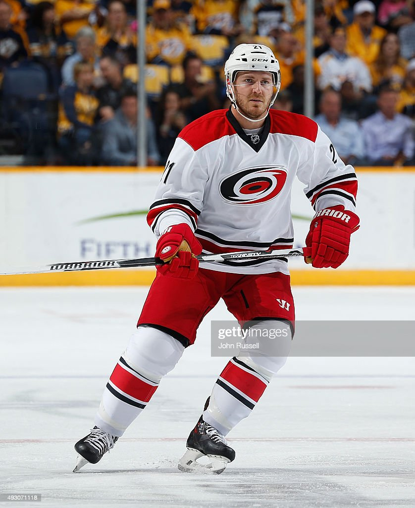 James Wisniewski of the Carolina Hurricanes skates against the Nashville Predators during an NHL game at Bridgestone Arena on October 8 2015 in...