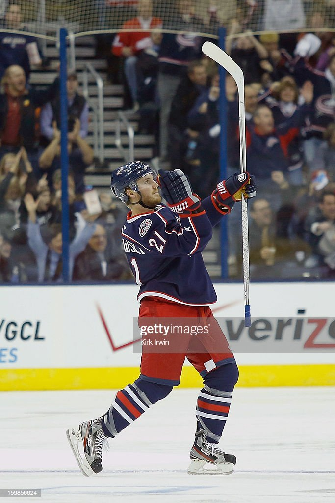 <a gi-track='captionPersonalityLinkClicked' href=/galleries/search?phrase=James+Wisniewski&family=editorial&specificpeople=688111 ng-click='$event.stopPropagation()'>James Wisniewski</a> #21 of the Columbus Blue Jackets celebrates after scoring a goal during the third period against the Detroit Red Wings on January 21, 2013 at Nationwide Arena in Columbus, Ohio. Detroit defeated Columbus 4-3 in a shootout