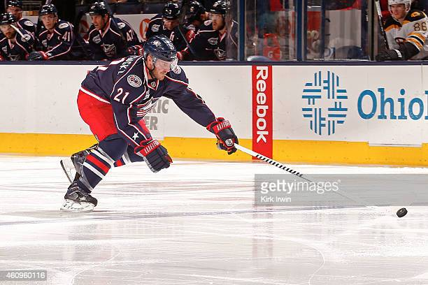 James Wisniewski of the Columbus Blue Jackets controls the puck during the game against the Boston Bruins on December 27 2014 at Nationwide Arena in...