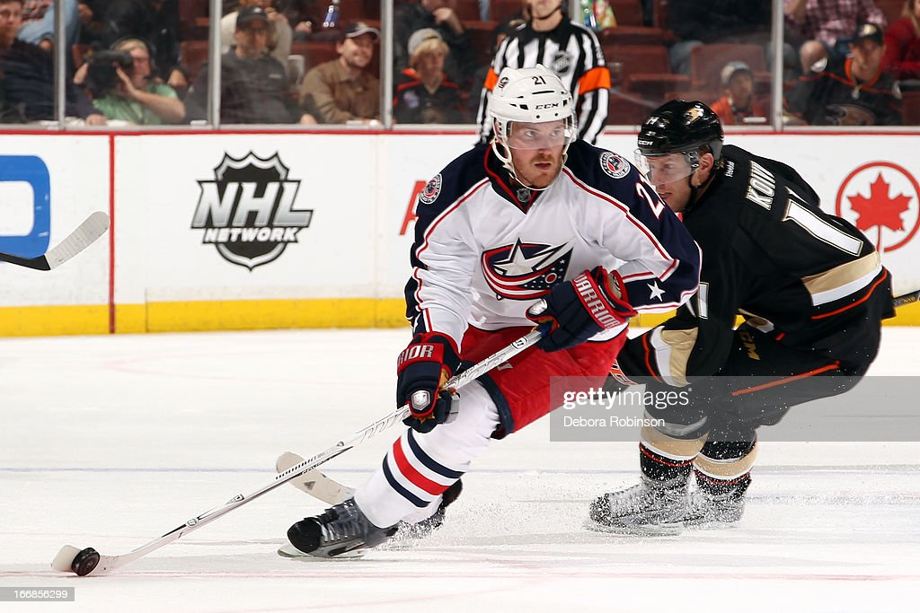<a gi-track='captionPersonalityLinkClicked' href=/galleries/search?phrase=James+Wisniewski&family=editorial&specificpeople=688111 ng-click='$event.stopPropagation()'>James Wisniewski</a> #21 of the Columbus Blue Jackets handles the puck against <a gi-track='captionPersonalityLinkClicked' href=/galleries/search?phrase=Saku+Koivu&family=editorial&specificpeople=202253 ng-click='$event.stopPropagation()'>Saku Koivu</a> #11 of the Anaheim Ducks on April 17, 2013 at Honda Center in Anaheim, California.