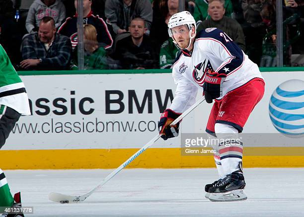 James Wisniewski of the Columbus Blue Jackets handles the puck against the Dallas Stars at the American Airlines Center on January 6 2015 in Dallas...
