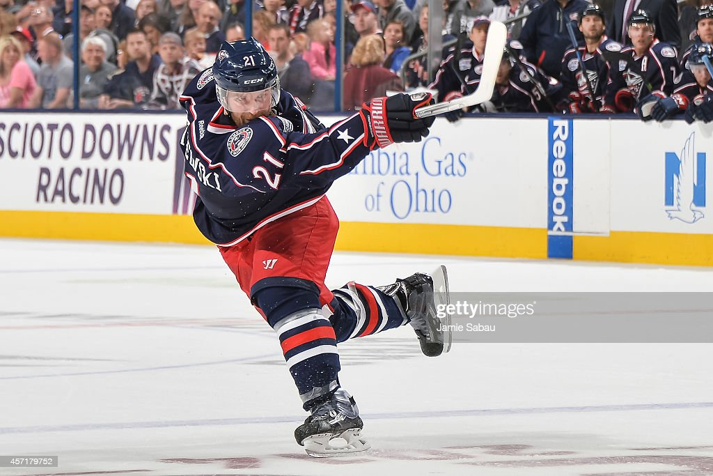 James Wisniewski of the Columbus Blue Jackets skates against the New York Rangers on October 11 2014 at Nationwide Arena in Columbus Ohio