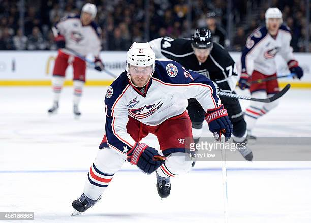 James Wisniewski of the Columbus Blue Jackets skates back for the puck during the game against the Los Angeles Kings at Staples Center on October 26...
