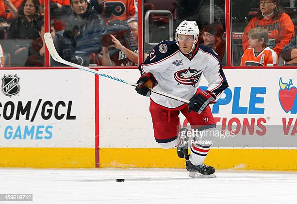 James Wisniewski of the Columbus Blue Jackets skates the puck against the Philadelphia Flyers on November 22 2014 at the Wells Fargo Center in...