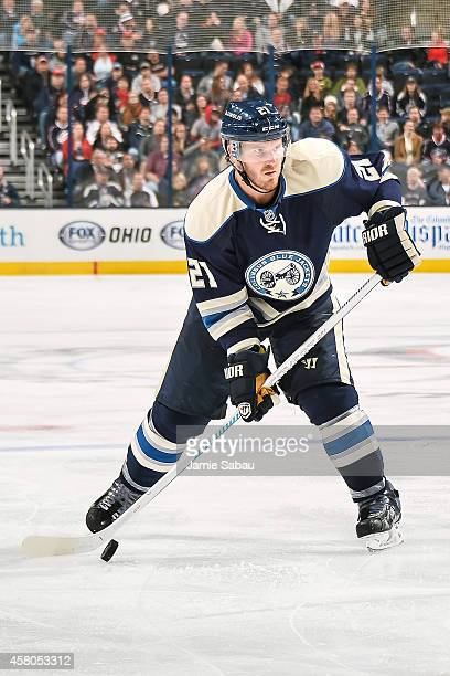 James Wisniewski of the Columbus Blue Jackets skates with the puck against the Ottawa Senators on October 28 2014 at Nationwide Arena in Columbus Ohio