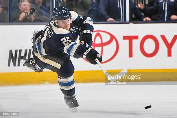 James Wisniewski of the Columbus Blue Jackets skates with the puck against the Vancouver Canucks on November 28 2014 at Nationwide Arena in Columbus...
