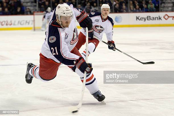 James Wisniewski of the Columbus Blue Jackets takes a shot against the Colorado Avalanche during the second half of the Nuggets' 11483 win The...