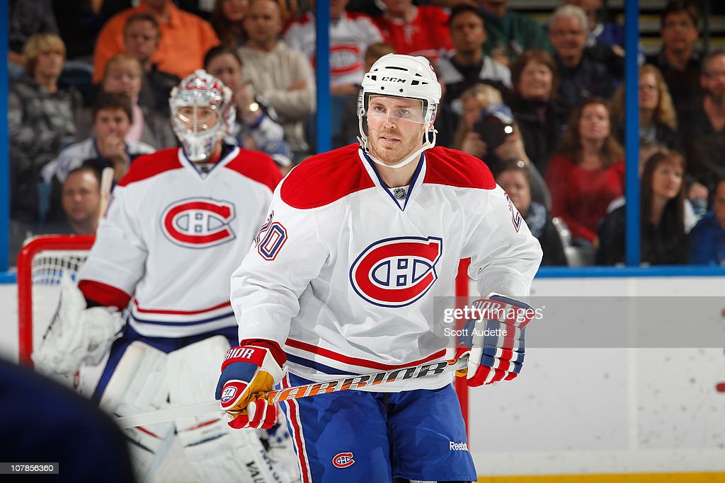 James Wisniewski of the Montreal Canadiens defends the zone against the Tampa Bay Lightning at the St Pete Times Forum on December 30 2010 in Tampa...