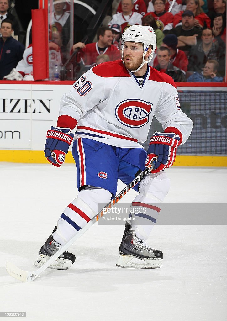 James Wisniewski of the Montreal Canadiens skates against the Ottawa Senators at Scotiabank Place on January 21 2011 in Ottawa Ontario Canada