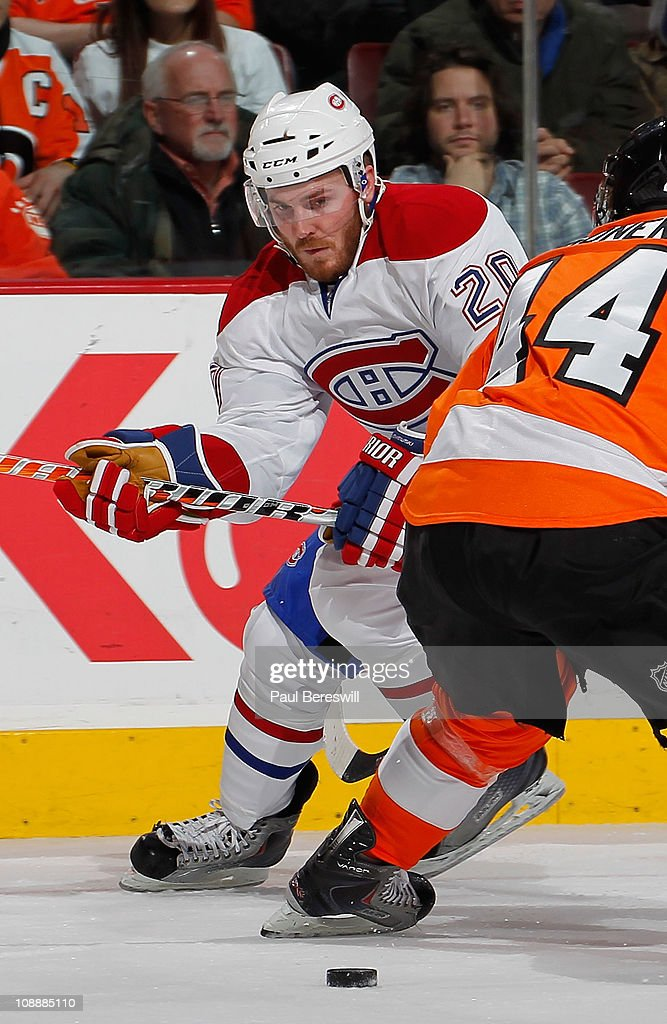 James Wisniewski of the Montreal Canadiens skates in an NHL hockey game against the Philadelphia Flyers at the Wells Fargo Center on January 25 2011...