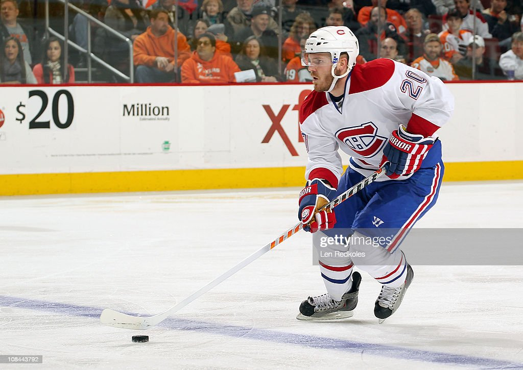 James Wisniewski of the Montreal Canadiens skates the puck against the Philadelphia Flyers on January 25 2011 at the Wells Fargo Center in...