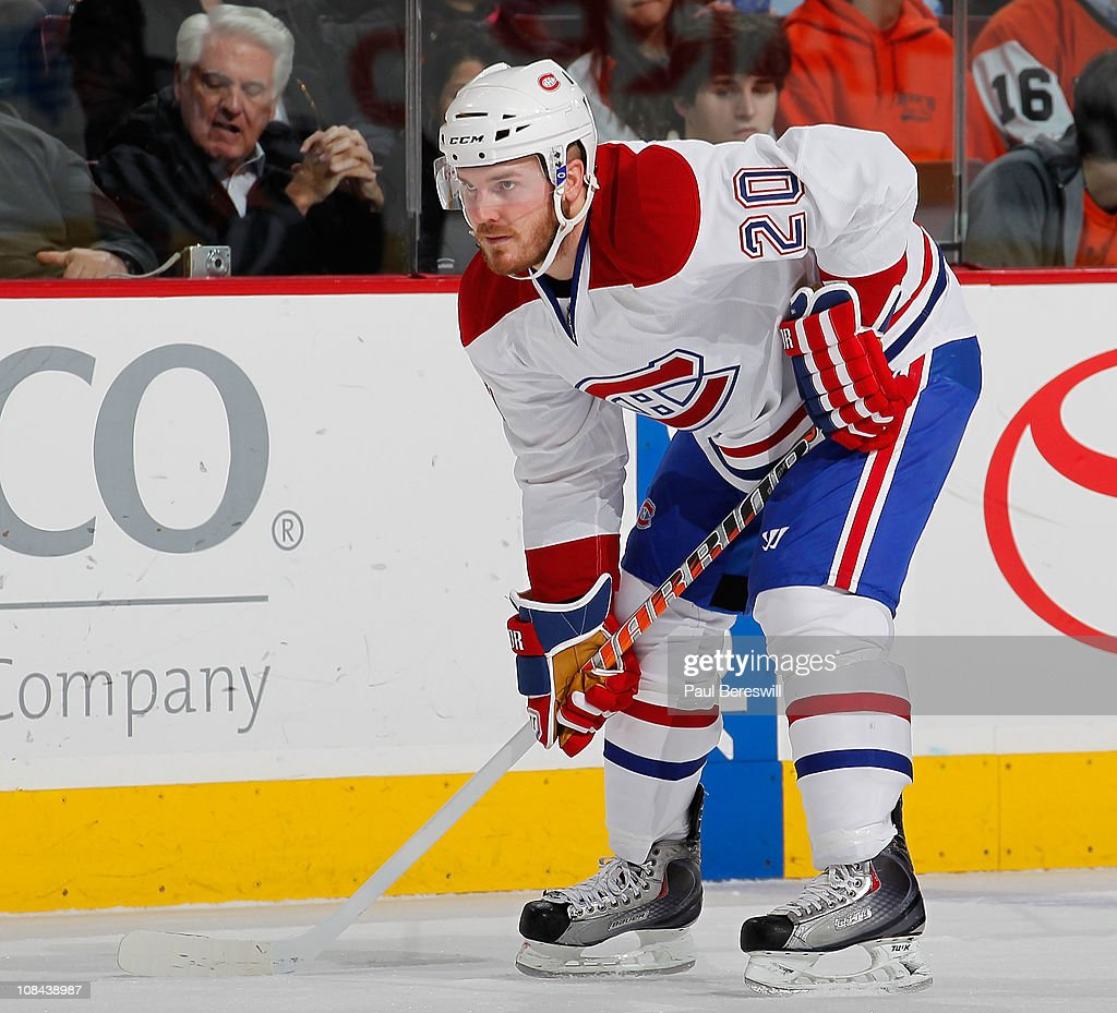 James Wisniewski of the Montreal Canadiens waits for a faceoff in an NHL hockey game against the Philadelphia Flyers at the Wells Fargo Center on...