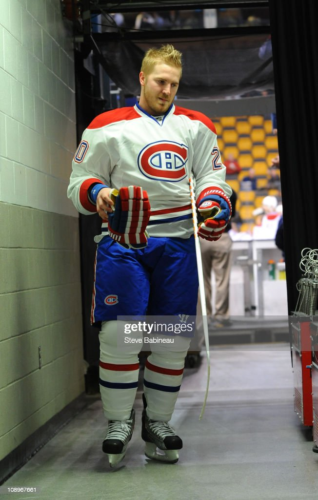 James Wisniewski of the Montreal Canadiens walks to the locker room after warmups before the game against the Boston Bruins at the TD Garden on...