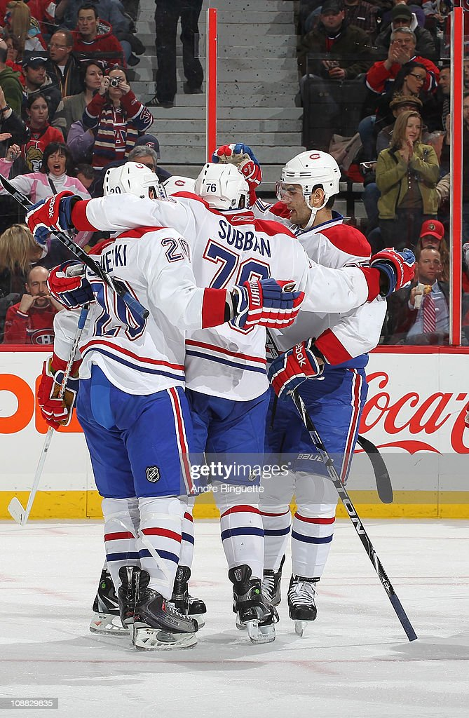 James Wisniewski PK Subban and Max Pacioretty of the Montreal Canadiens celebrate a second period goal against the Ottawa Senators at Scotiabank...