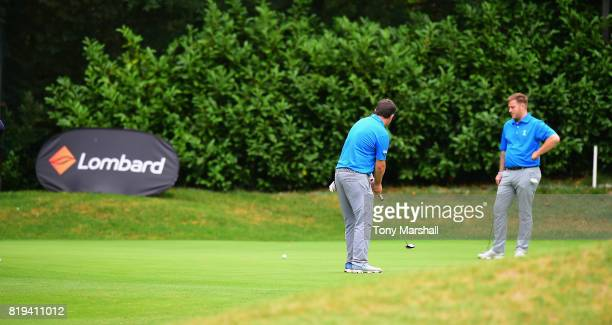 James Wood of Crews Hill Golf Club putts on the 18th green during the PGA Lombard Trophy East Qualifier at Sandy Lodge Golf Club on July 20 2017 in...