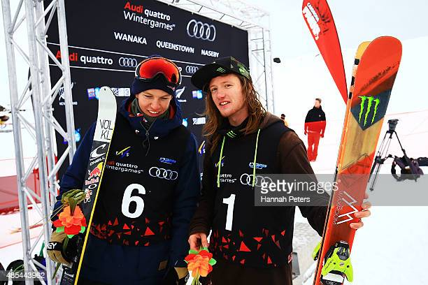 James Woods of Great Britain and Oystein Braaten of Norway smile following the FIS Freestyle Ski World Cup Slopestyle Finals during the Winter Games...