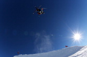 James Woods of Great Britain competes in the FIS Freestyle Ski Slopestyle World Cup Qualifying during day nine of the Winter Games NZ at Cardrona...