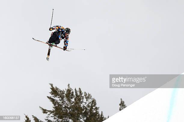 James Woods of Great Britain goes airborne as he qualified first in the Men's Ski Slopestyle Elimination during Winter X Games Aspen 2013 at...