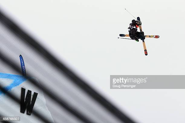 James Woods of Great Britain skis to 11th place in the FIS Slopestyle Ski World Cup at the US Snowboarding and Freeskiing Grand Prix on December 21...