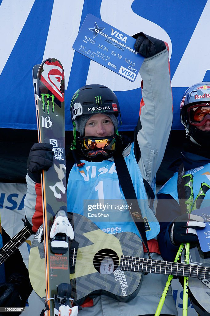 James Woods of Great Britain stands on the podium after winning the FIS Freestyle Ski World Cup slope style final at the U.S. Grand Prix on January 12, 2013 in Copper Mountain, Colorado.
