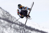 James Woods of Great Britain takes 2nd place during the FIS Freestyle Ski World Championship Men's and Women's Slopestyle on March 09 2013 in Voss...