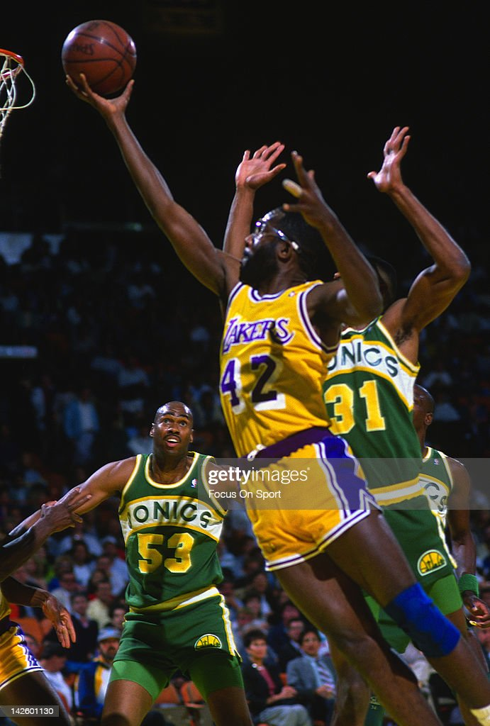 c992b8b0f ... Jersey James Worthy 42 of the Los Angeles Lakers lays the ball up over  Derrick McKey ...
