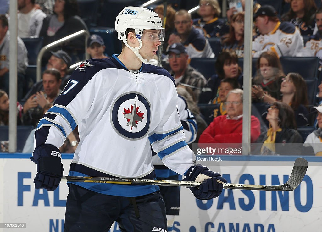 James Wright #17 of the Winnipeg Jets skates against the Buffalo Sabres at First Niagara Center on April 22, 2013 in Buffalo, New York.