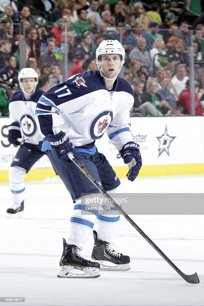 James Wright #17 of the Winnipeg Jets skates against the Dallas Stars at the American Airlines Center on October 26, 2013 in Dallas, Texas.