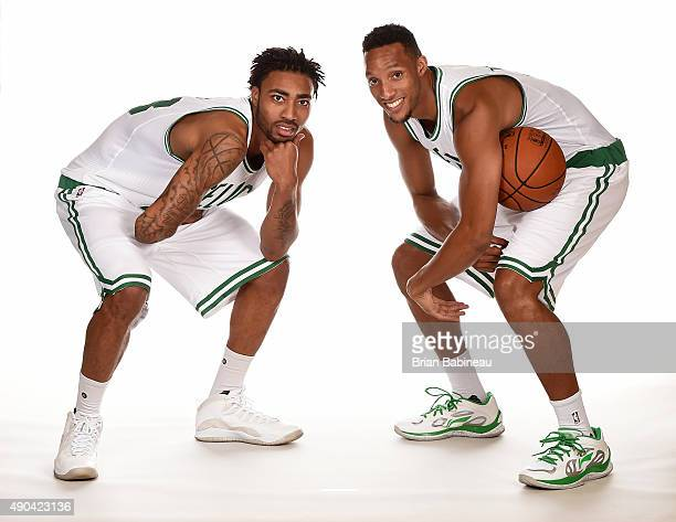 James Young and Evan Turner of the Boston Celtics poses during media day on September 25 2015 at the Boston Celtics Training Center in Waltham...