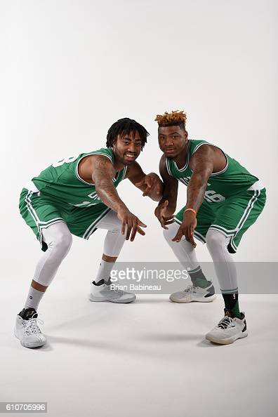James Young and Marcus Smart of the Boston Celtics poses for a portrait during 20162017 Boston Celtics Media Day at TD Garden on September 26 2016 in...