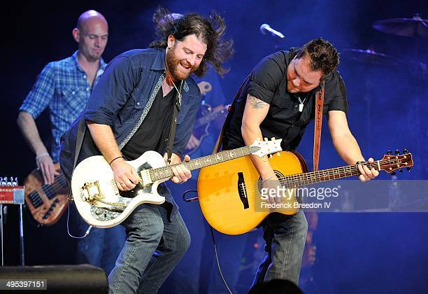 James Young and Mike Eli of the Eli Young Band perform during the Fifth annual 'Darius and Friends' concert at Wildhorse Saloon on June 2 2014 in...