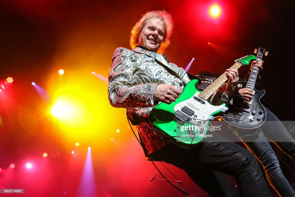 James Young and Tommy Shaw from Styx perform in concert at Northwell Health at Jones Beach Theater on August 16, 2017 in Wantagh, New York.