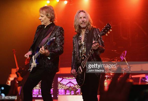 James Young and Tommy Shaw of Styx perform at City National Civic on March 17 2016 in San Jose California