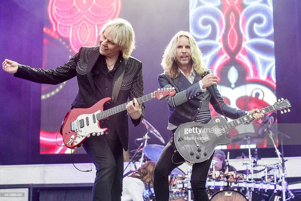 James Young and <a gi-track='captionPersonalityLinkClicked' href=/galleries/search?phrase=Tommy+Shaw&family=editorial&specificpeople=709252 ng-click='$event.stopPropagation()'>Tommy Shaw</a> of Styx perform on Day 5 of the RBC Royal Bank Bluesfest on July 8, 2014 in Ottawa, Canada.