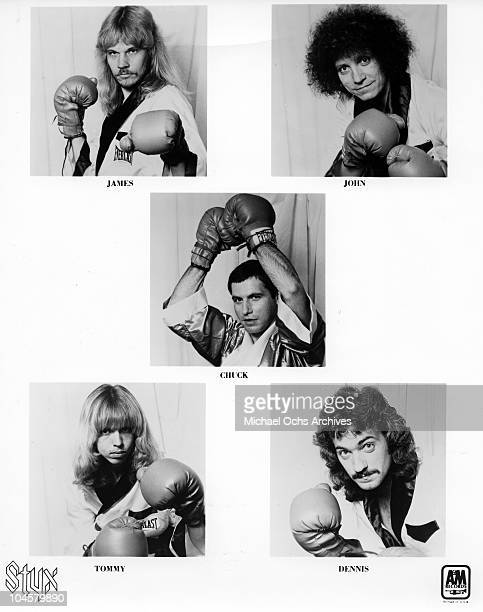 James Young John Panazzo Chuck Panazzo Dennis De Young Tommy Shaw of the rock quintet 'Styx' poses for a portrait in s for a portrait in 1963