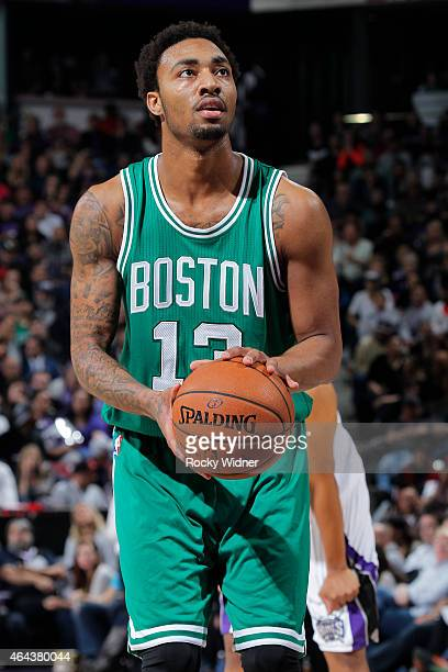 James Young of the Boston Celtics attempts a free throw shot against the Sacramento Kings on February 20 2015 at Sleep Train Arena in Sacramento...
