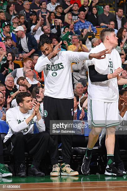 James Young of the Boston Celtics celebrates from the bench during the game against the Memphis Grizzlies on March 9 2016 at the TD Garden in Boston...