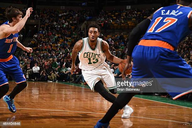 James Young of the Boston Celtics drives to the basket against the New York Knicks on February 25 2015 at TD Garden in Boston Massachusetts NOTE TO...