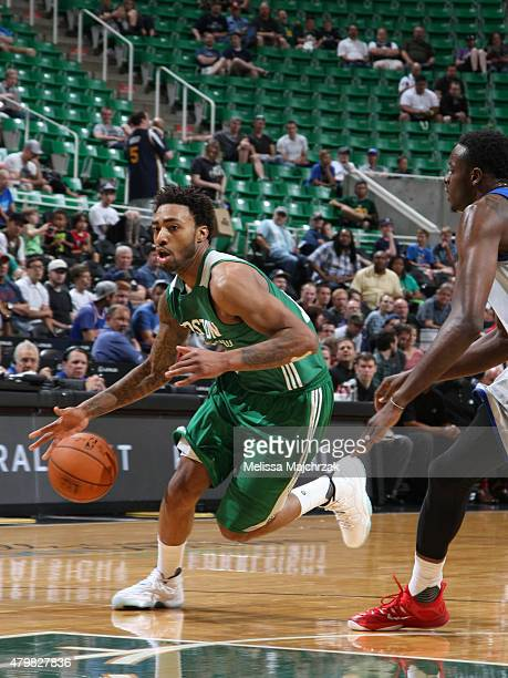 James Young of the Boston Celtics drives to the basket against the Philadelphia 76ers during the NBA Summer League on July 6 2015 at EnergySolutions...
