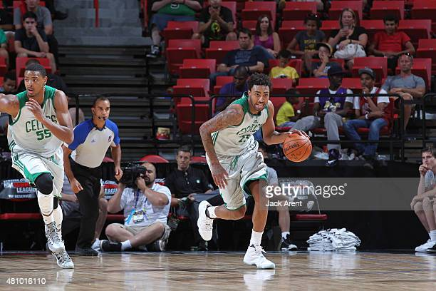 James Young of the Boston Celtics drives to the basket against the Portland Trail Blazers during the game on July 16 2015 at Thomas And Mack Center...