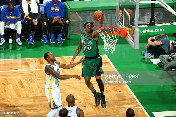 James Young of the Boston Celtics goes up for a lay up during a game against the Golden State Warriors on November 18 2016 at TD Garden in Boston...
