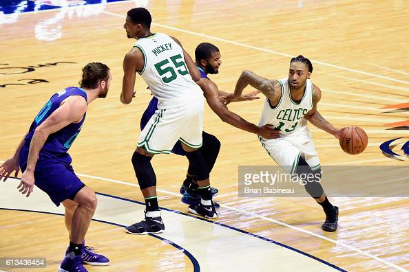 James Young of the Boston Celtics handles the ball against the Charlotte Hornets during a preseason game on October 8 2016 at the Mohegan Sun Arena...